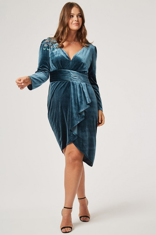 Little Mistress Curvy Cali Velvet Mock Wrap Dress