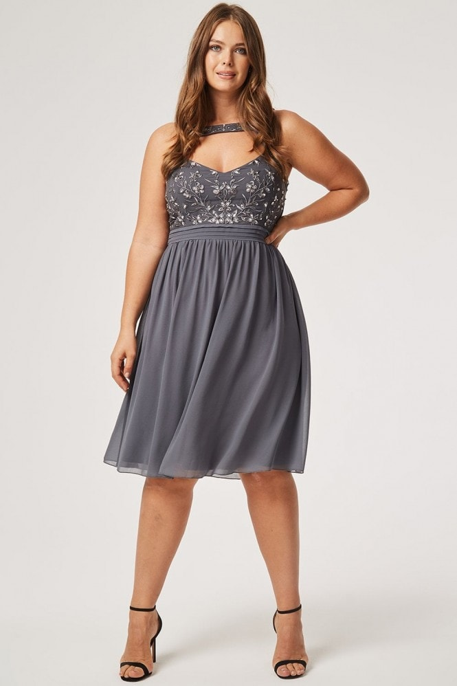 Little Mistress Curvy Kelly Keyhole Prom With Embellishment