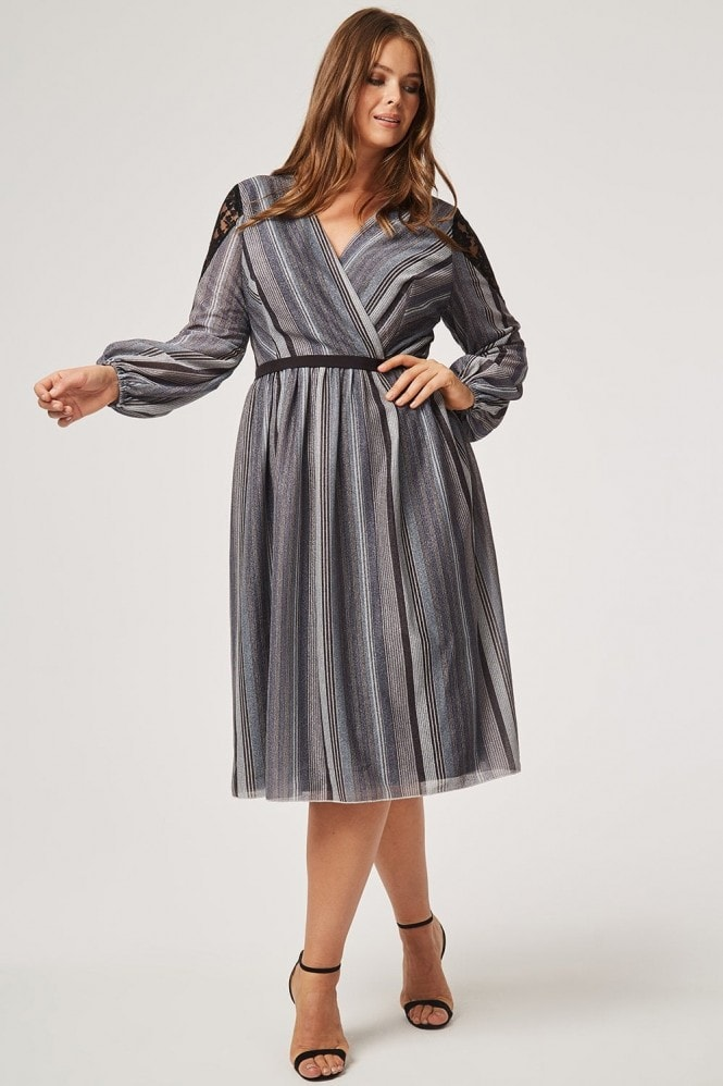 Little Mistress Curvy Kylie Metal Stripe Skater Dress