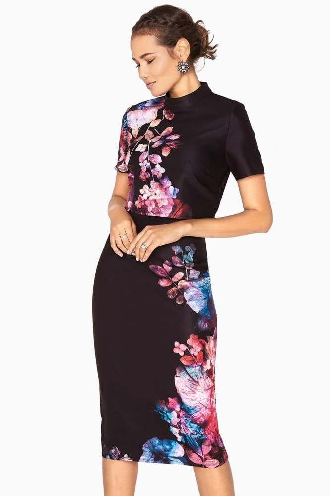 Little Mistress Aurora Placement Print Dress With Butterfly Back