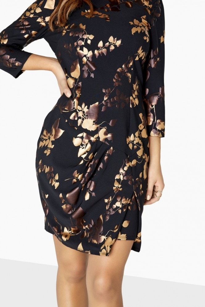 Little Mistress Fifi Gold Foil Bodycon Dress