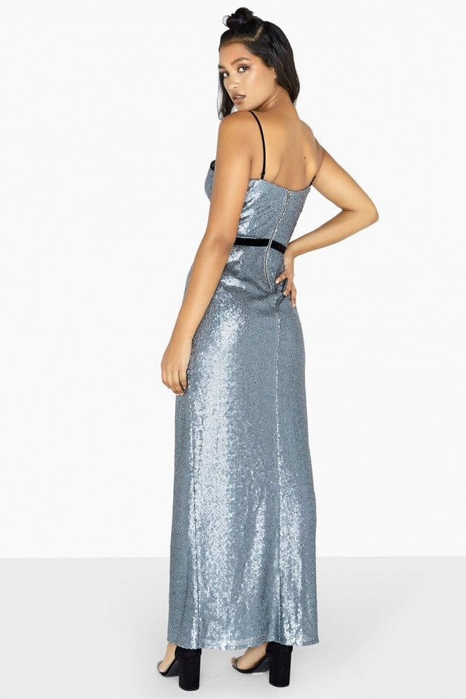 Little Mistress Celine Sequin Binding Maxi Dress