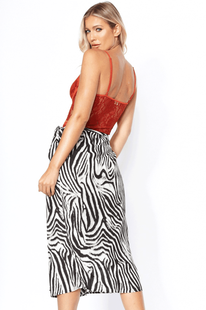 Peyton Zebra Satin Wrap Skirt