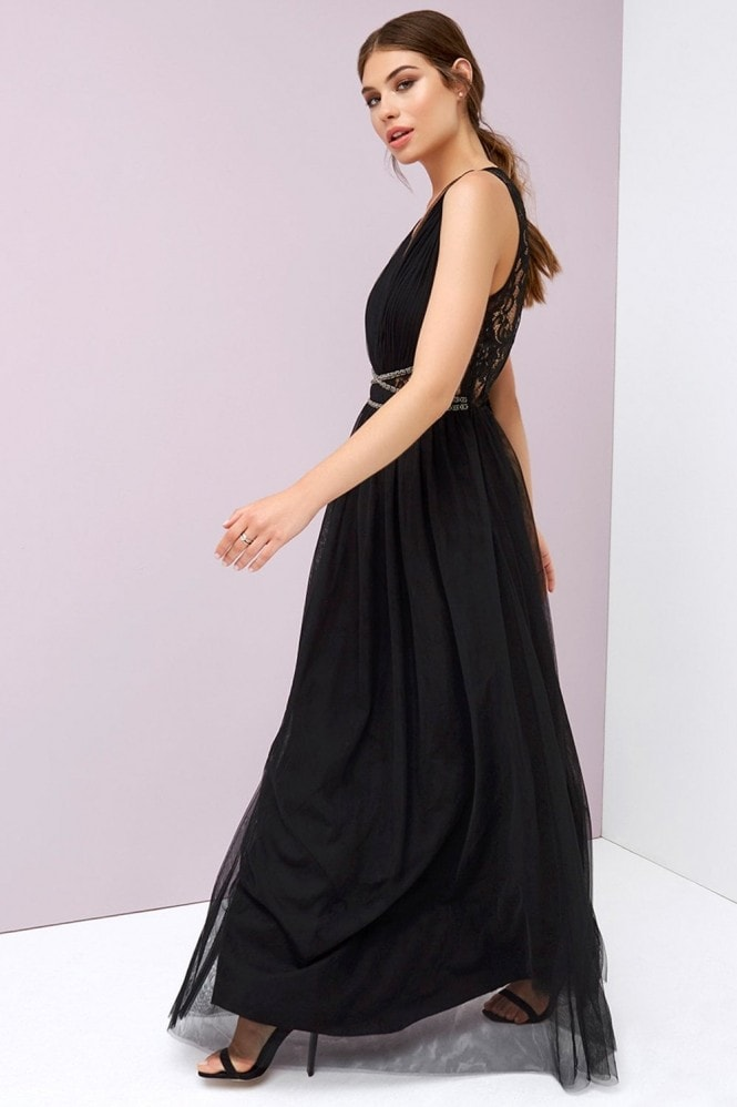 Eugenie Black Hand-Embellished Lace Maxi