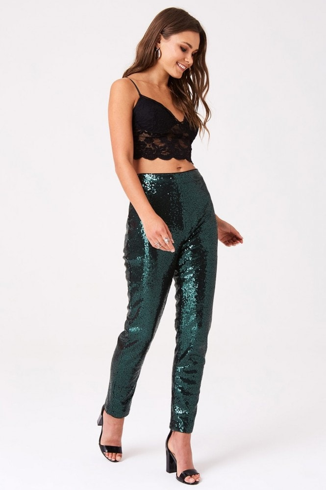 Outrageous Fortune Sequin Cigarette Trousers