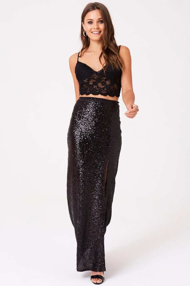 Outrageous Fortune Sequin Split Front Skirt