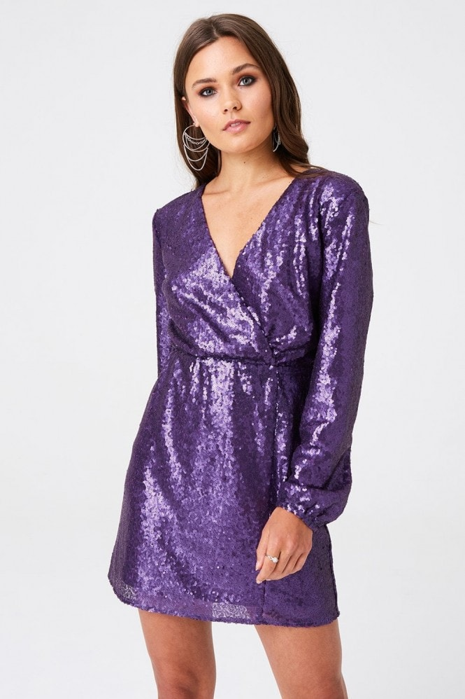 Outrageous Fortune Sequin Mock Wrap Mini Dress