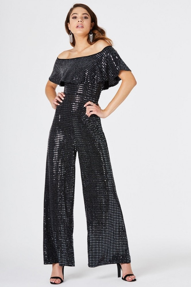 Girls on Film Avril Black Wide Leg Jumpsuit