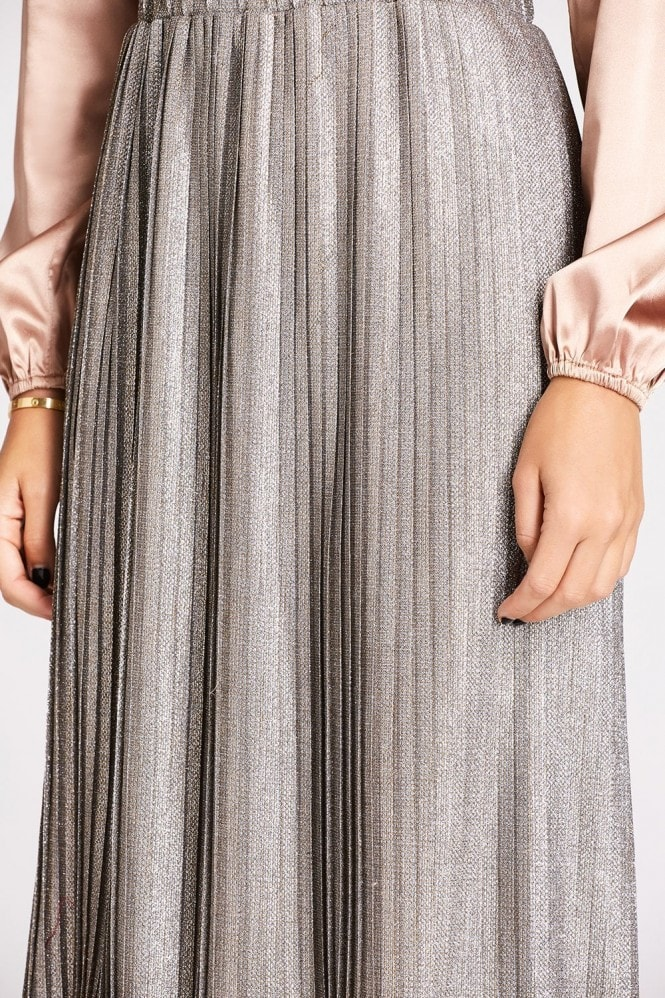 Studio Mouthy Gold Glitter Pleat Skirt