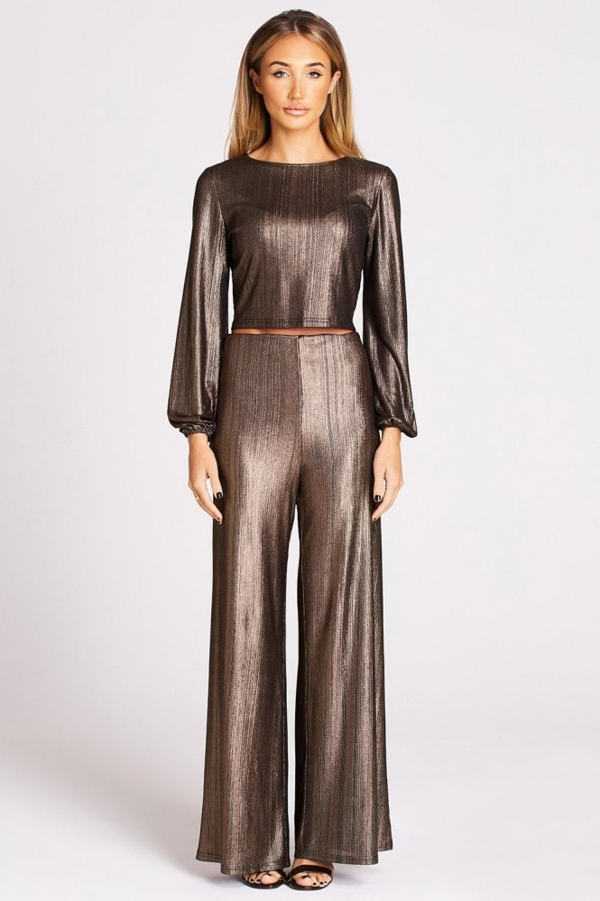 Studio Mouthy Metallic Copper Flare Trousers