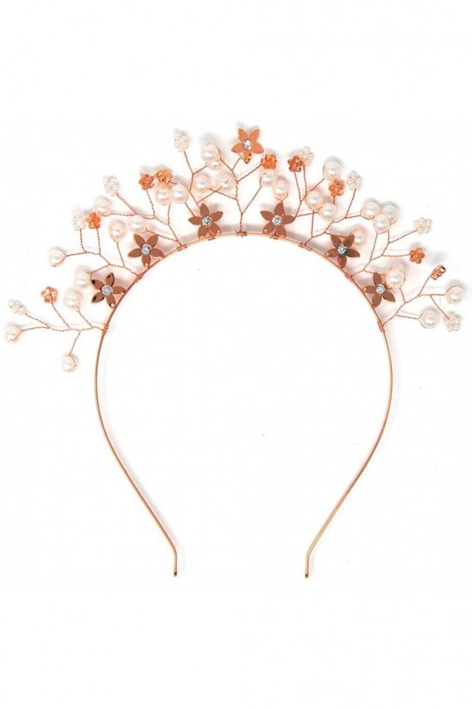 Johnny Loves Rosie Rose Gold Floral Embellished Crown