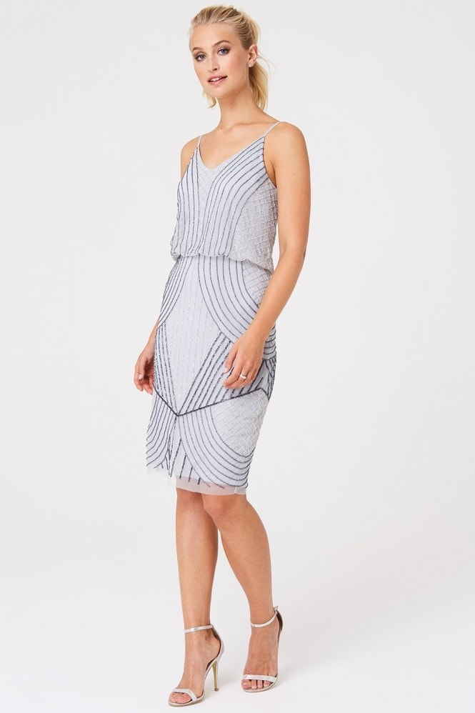 Little Mistress Luxury Alexis Grey Hand Embellished Midi Dress