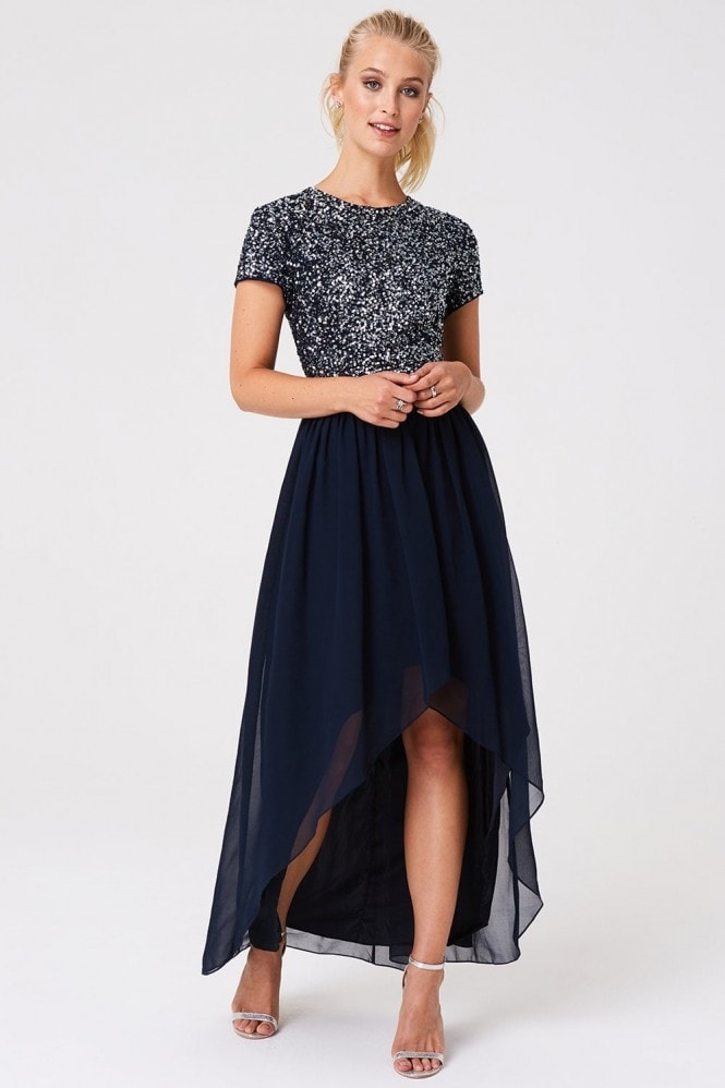 Little Mistress Luxury Elise Navy Hand-Embellished Sequin Midi Dress