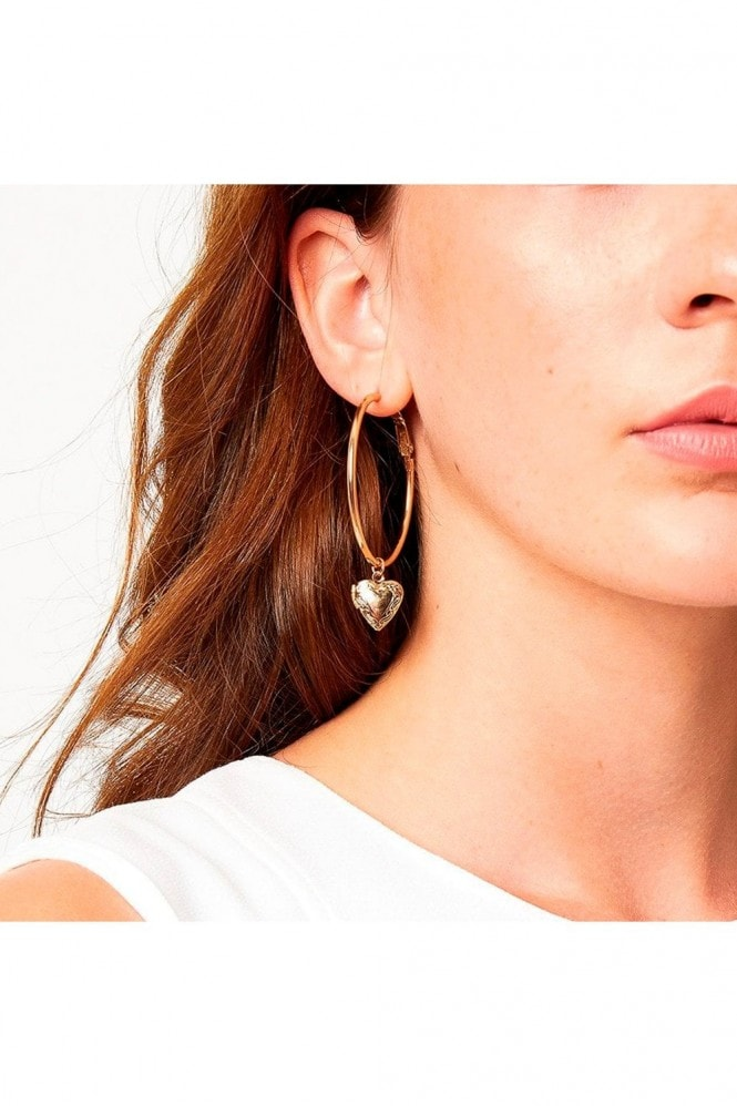 Johnny Loves Rosie Gracie Heart Locket Hoop Earrings