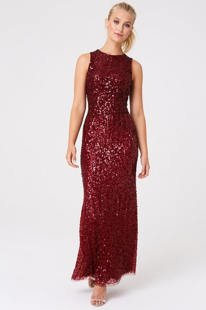 Little Mistress Illaria Red Ombre Hand Embellished Sequin Maxi Dress