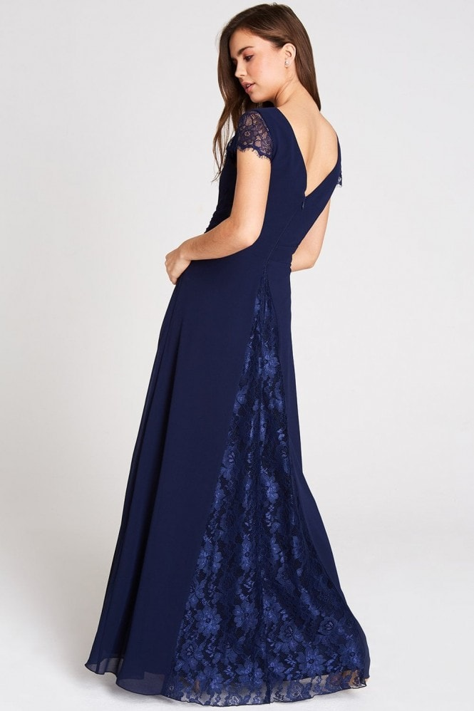 Little Mistress Bianca Lace Trim Maxi Dress In Navy