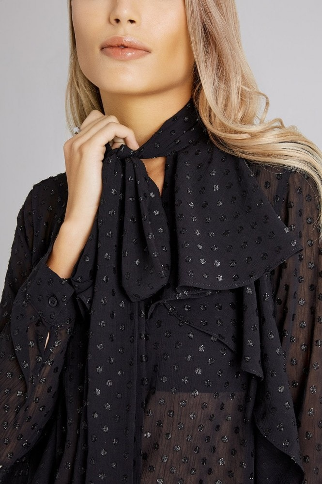 Girls on Film Bedford Black Lurex Pussybow Blouse