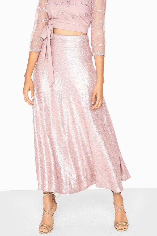 Little Mistress Arabella Metallic Sequin Draped Skirt