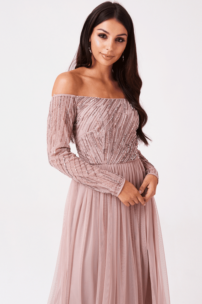 Little Mistress Luxury Skylar Linear Bardot Dress