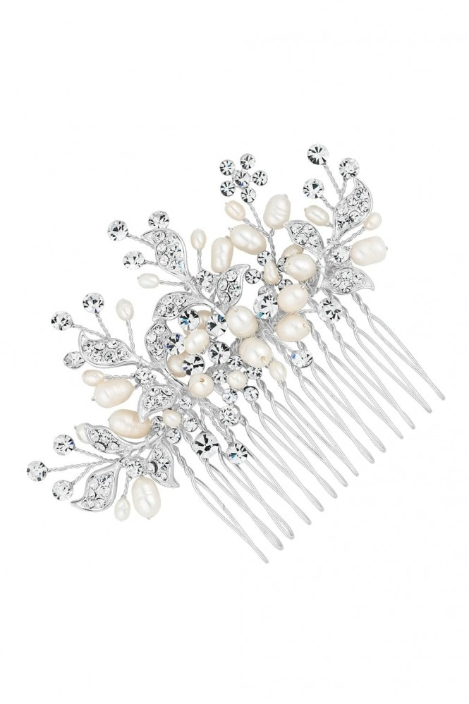 Jon Richard Jewellery Designer Silver Crystal Leaf And Freshwater Pearl Spray Comb