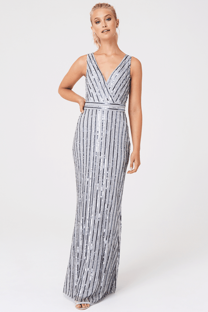 Little Mistress Luxury Evalina Hand-Embellished Striped Sequin Maxi Dress