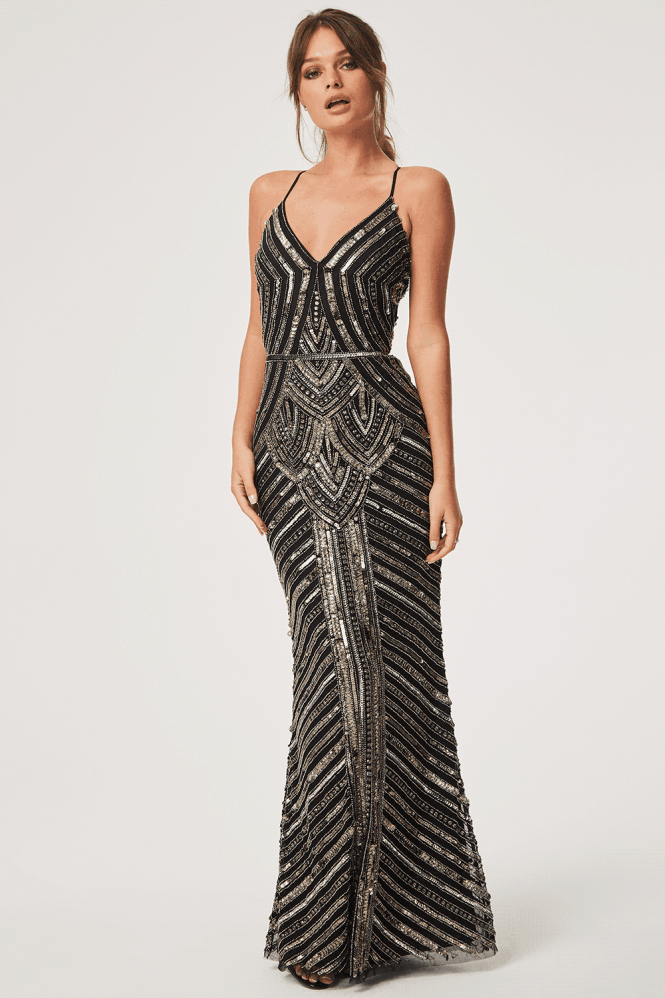 Little Mistress Luxury Melania Black Deco Hand-Embellished Maxi Dress