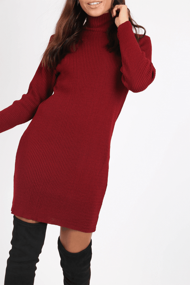 Colton Red Roll-Neck Jumper Dress