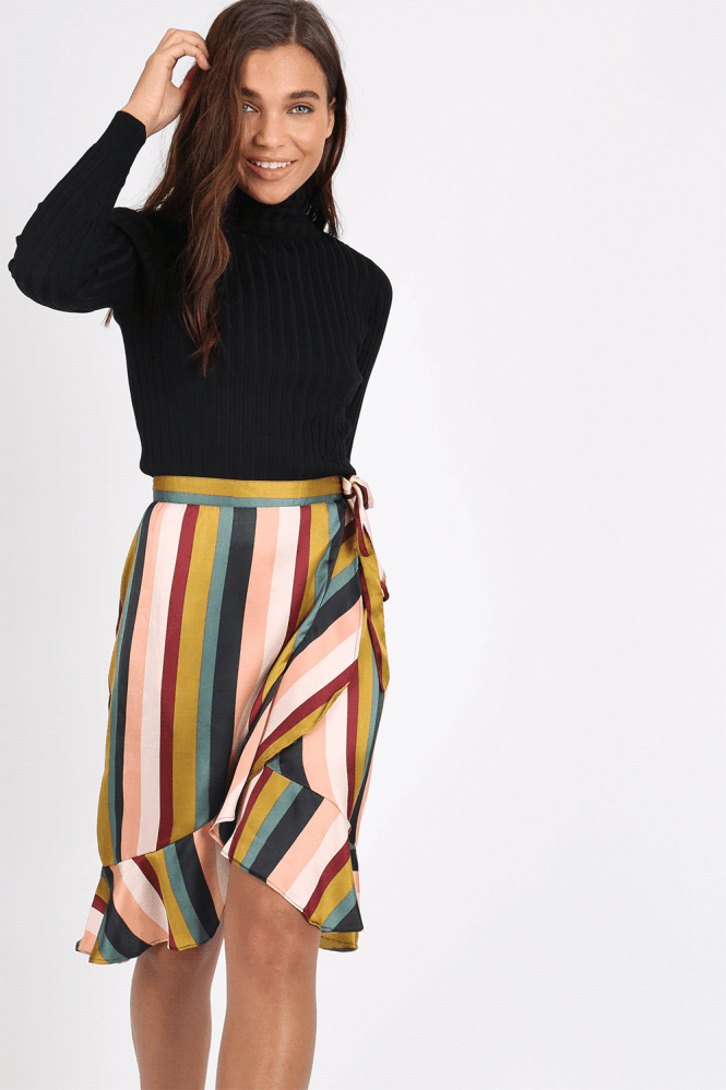 Logan Stripe Satin Midi Skirt