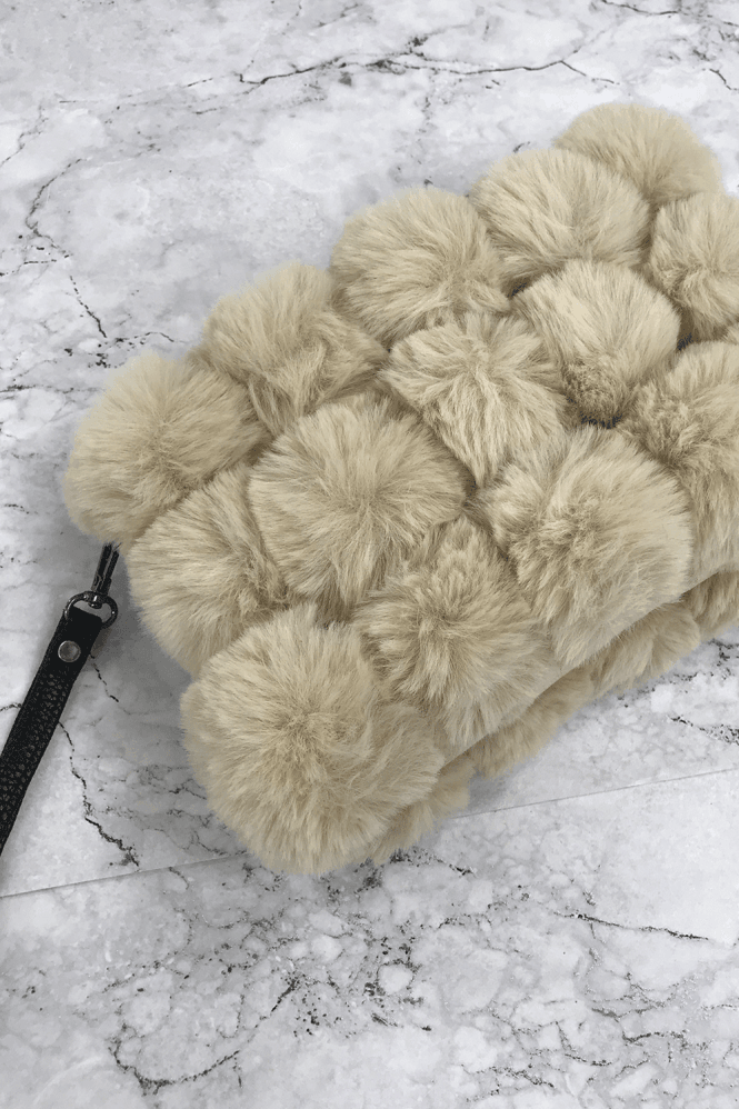 Sand Fur Pom-Pom Clutch Bag