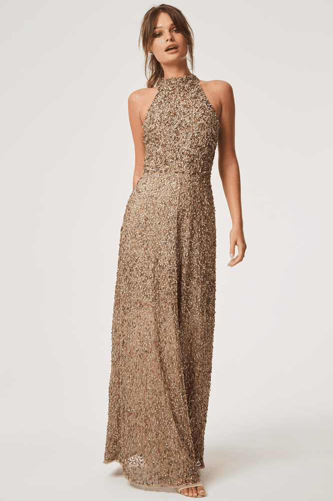 Little Mistress Luxury Nicky Hand Embellished Sequin Maxi Dress