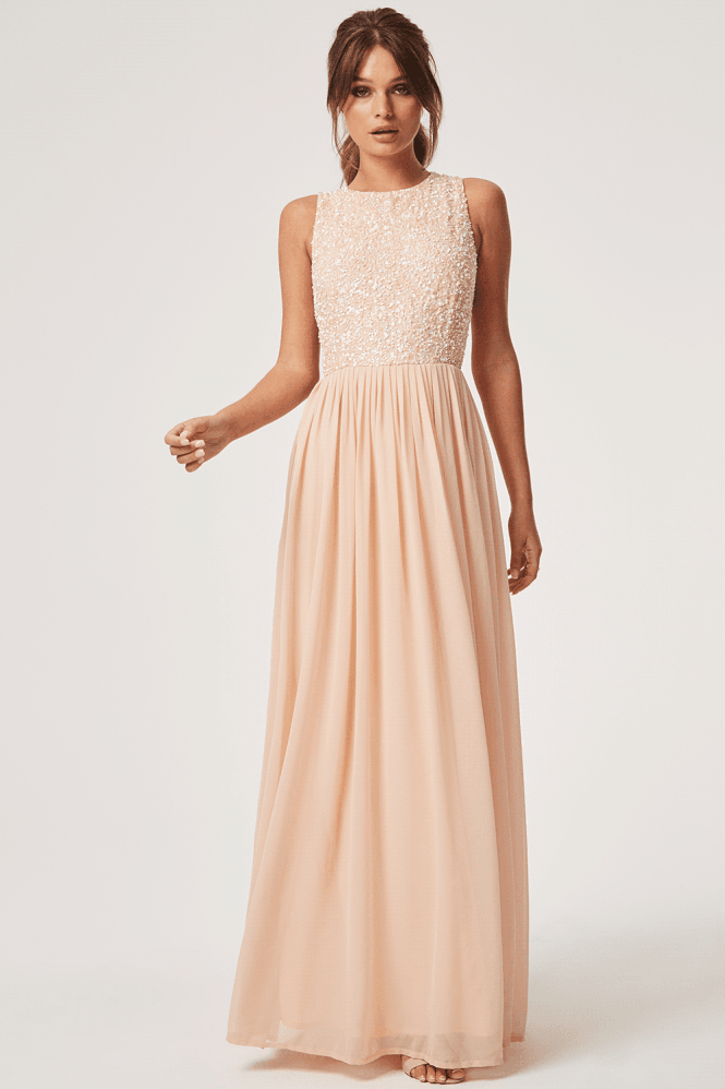 Little Mistress Luxury Anya Nude Hand Embellished Sequin Maxi Dress