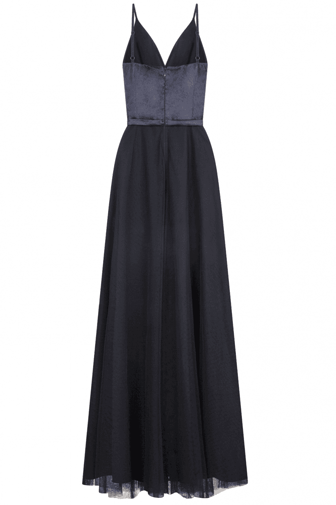 Little Mistress Therese Navy Plunge Maxi Dress