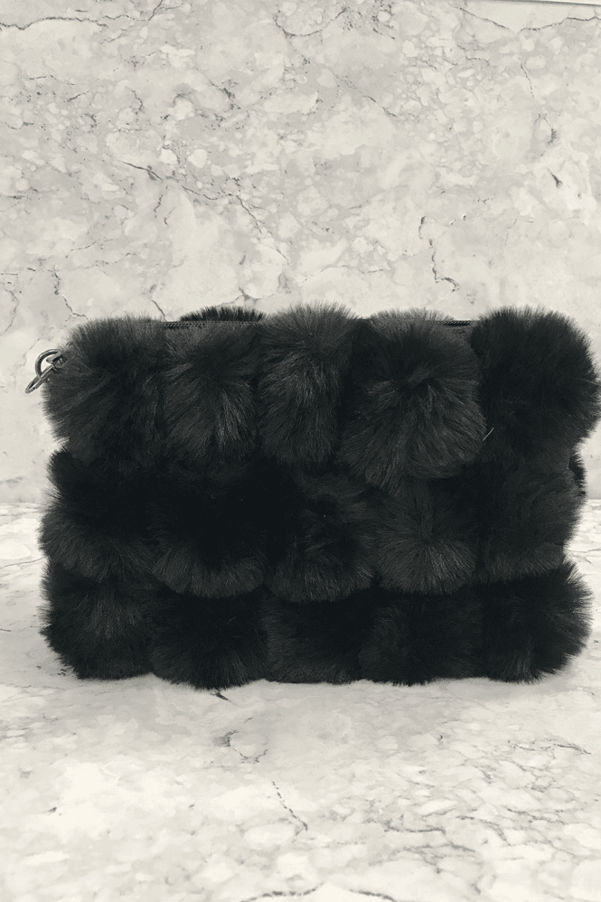 Black Fur Pom-Pom Clutch Bag