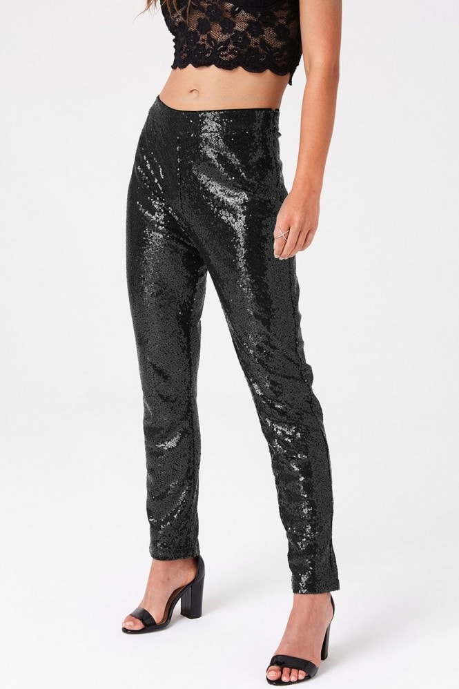 Girls on Film Manor Black Sequin Trousers