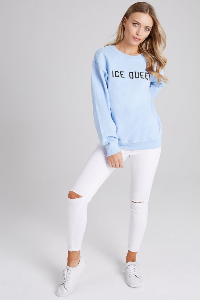 Girls on Film Blue Ice Queen Slogan Jumper