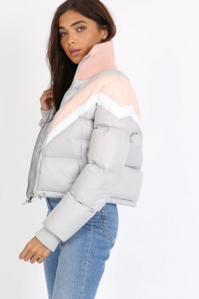 Nixon Grey Colour-Block Chevron Puffer Jacket