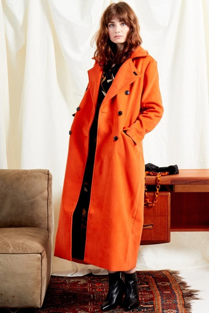 Marvel Orange Double-Breasted Maxi Coat