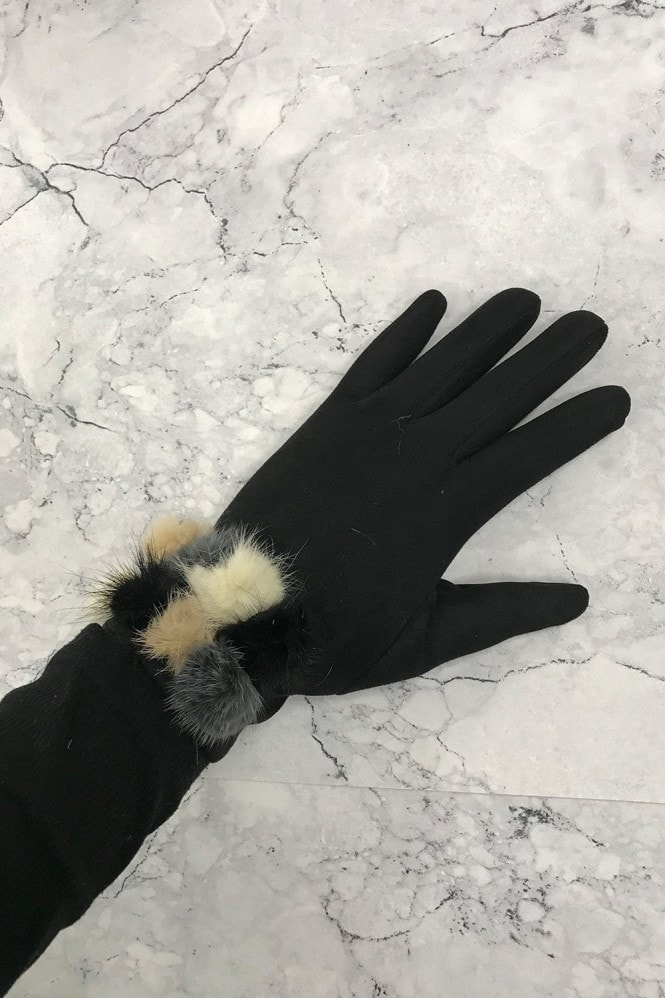 Black Pom-Pom Gloves
