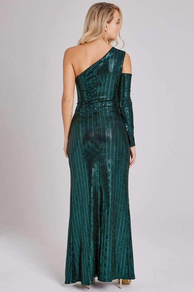 Verde Green Sequin One-Shoulder Maxi Dress