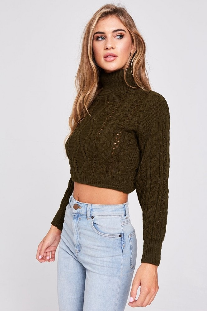 Alpha Khaki Cable-Knit Jumper