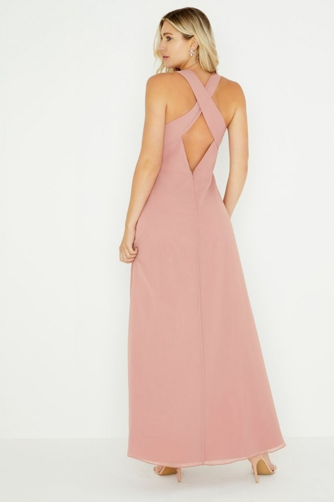 Little Mistress Ambrose Apricot Plunge Maxi Dress