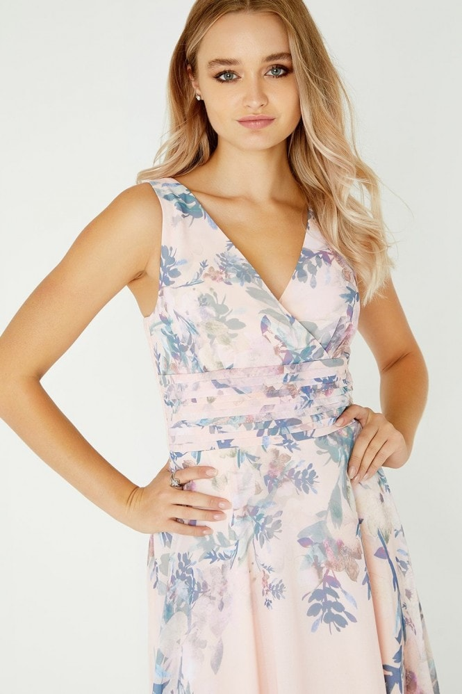 Little Mistress Arly Mock Wrap Maxi Dress In Floral