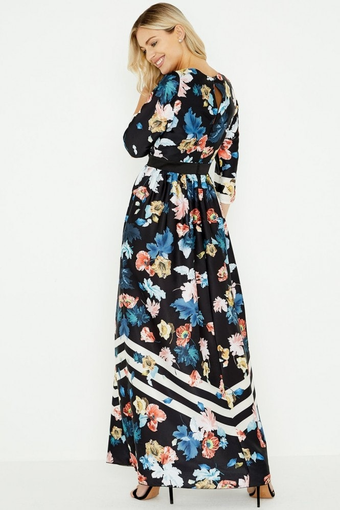 Little Mistress Rossy Floral Stripe Maxi Dress