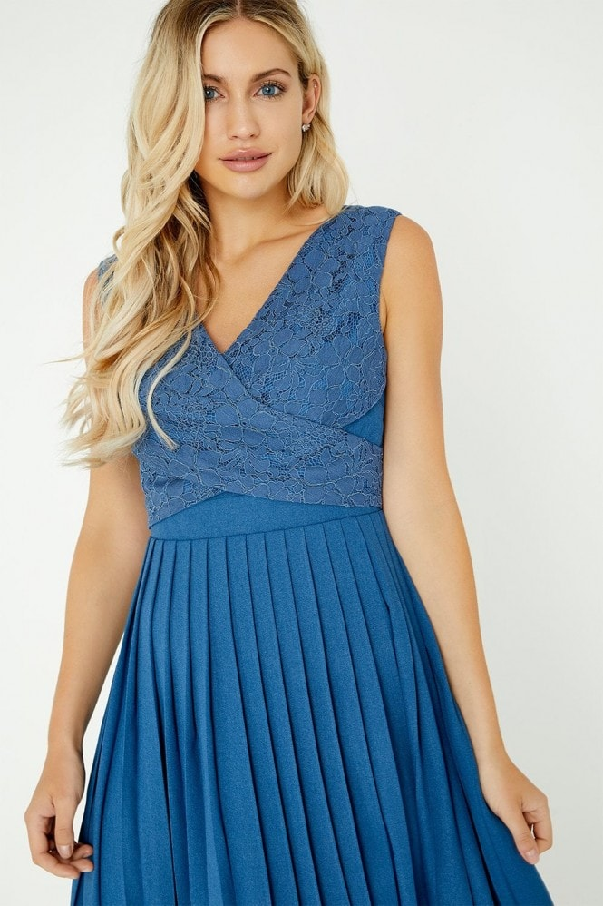 Little Mistress Margot Blue Lace Pleated Midaxi Dress