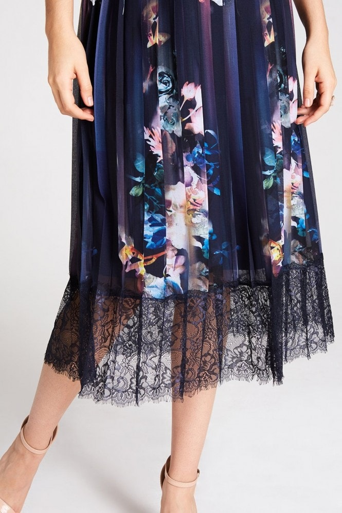 Little Mistress Viola Floral Lace Hem Midi Dress