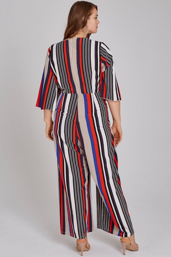 Girls On Film Curvy Mickey Mock Wrap Striped Jumpsuit