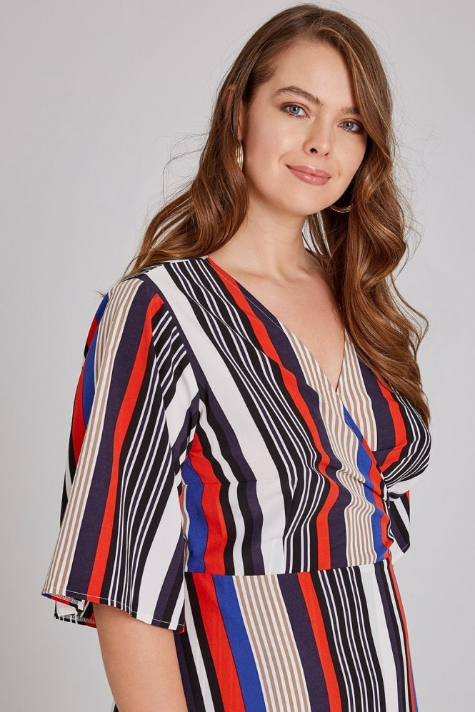 Girls On Film Curvy Cassis Striped Frill Hem Wrap Dress