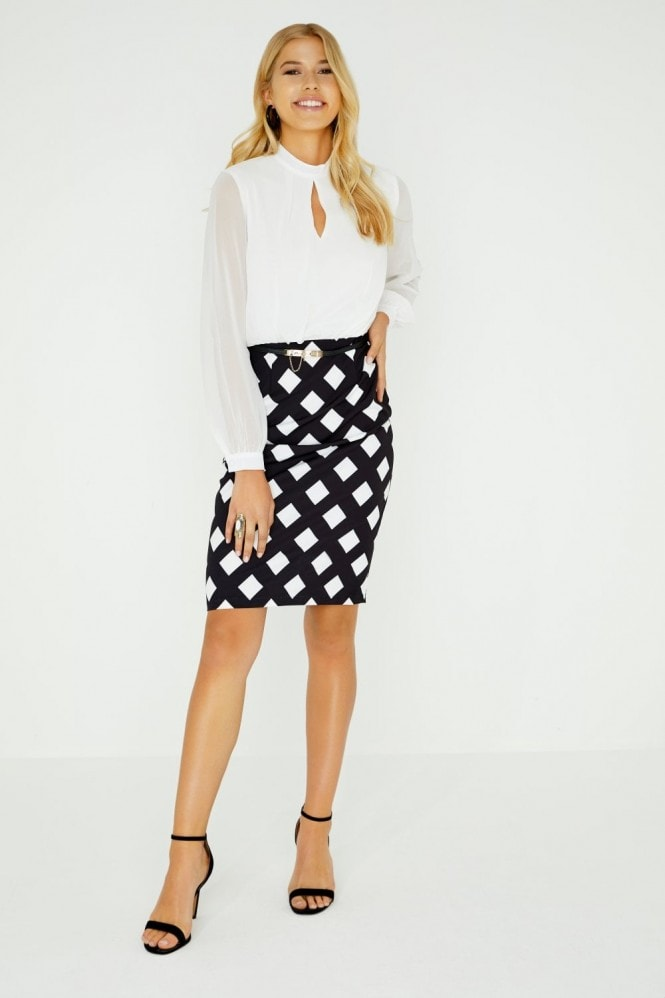 Paper Dolls Laguna Checked Chiffon Pencil Dress