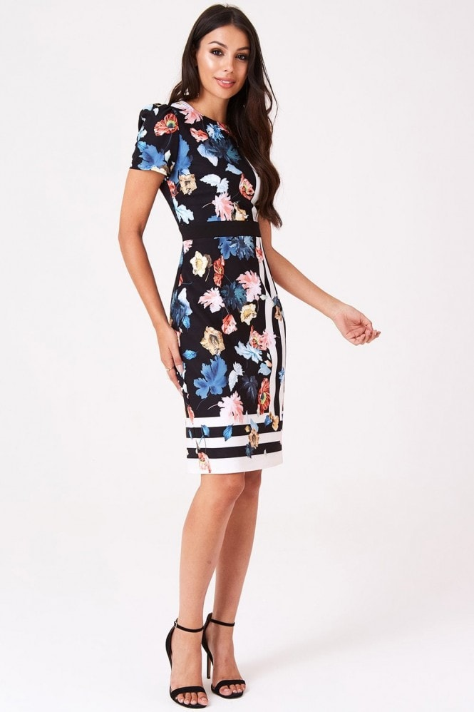 Little Mistress Rossy Floral Stripe Midi Dress