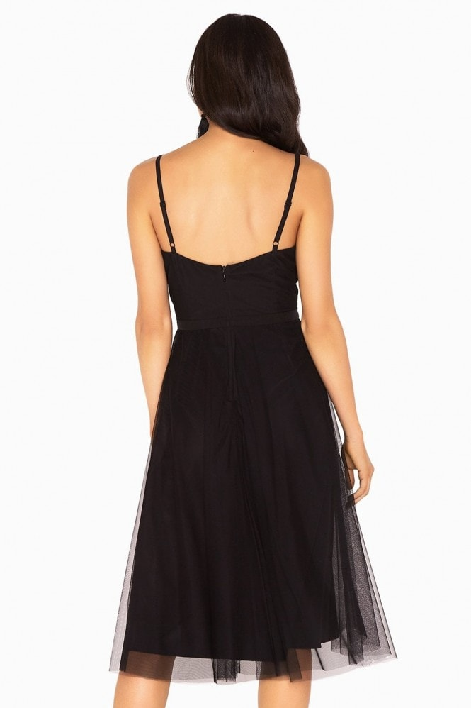 Hallie Sequin Embroidery Mesh Strappy Dress